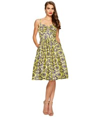 Unique Vintage Damask Golightly Dress Yellow Women's Dress