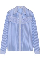 Miu Miu Ruffle Trimmed Striped Cotton Poplin Shirt Light Blue