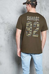 Forever 21 Savage 92 Graphic Tee Olive White