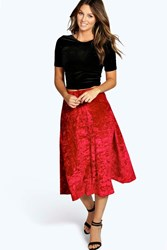 Boohoo Crushed Velvet Full Skater Skirt Red