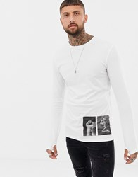 Religion Long Sleeve Top With Patch Print White