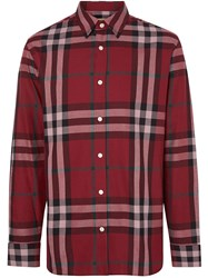 Burberry Check Cotton Flannel Shirt Red