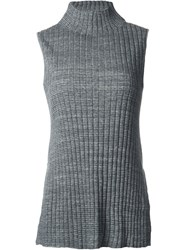 Astraet Ribbed High Neck Long Fit Tank Top Grey