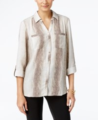 Ny Collection Printed Utility Shirt Neutral Snake