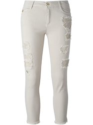 Ermanno Scervino Cropped Distressed Jeans Nude And Neutrals