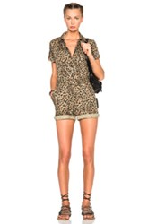 A.P.C. Leopard Romper In Brown Animal Print