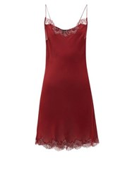 Carine Gilson Chantilly Lace Trimmed Silk Satin Nightdress Red