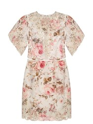 Zimmermann Eden Floral Print Cotton Dress Pink Multi
