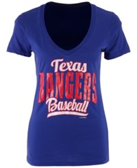 5Th And Ocean Women's Texas Rangers Shortstop V Neck T Shirt Royalblue