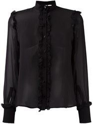 Amen Ruffled Detail Sheer Shirt Black