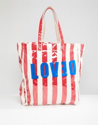 Stradivarius Love And Stripe Beach Bag Multi