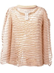 Maison Martin Margiela Maison Margiela Distressed Knit Jumper Pink And Purple