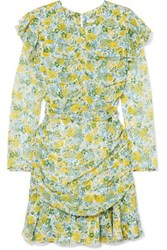 Veronica Beard Ruched Floral Print Silk Chiffon Mini Dress Yellow