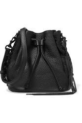Rebecca Minkoff Studded Pebbled Leather Bucket Bag Black