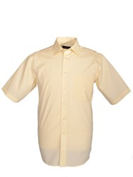 Double Two Men's King Size Short Sleeved Non Iron Cotton Shirt Lemon