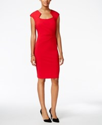 Connected Square Neck Ruched Sheath Dress Red
