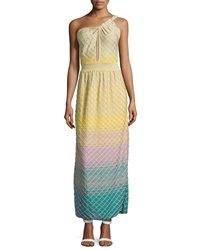 M Missoni Keyhole One Shoulder Maxi Dress Yellow Multi