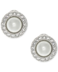 Givenchy Silver Tone Imitation Pearl And Pave Clip On Stud Earrings