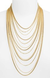Stella Ruby Multistrand Chain Necklace Gold