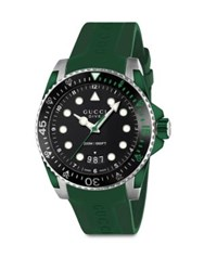 Gucci Dive Stainless Steel And Green Rubber Strap Watch No Color