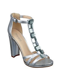 Nine West Wiglie Leather Jeweled T Strap Sandals Silver