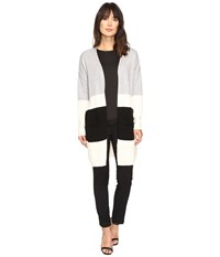Vince Camuto Long Sleeve Color Blocked Maxi Cardigan Light Heather Grey Women's Sweater Silver