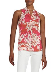 Lord And Taylor Sleeveless Tropical Blouse Arabian Spice