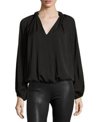 Max Studio V Neck Knotted Shoulder Blouse Black