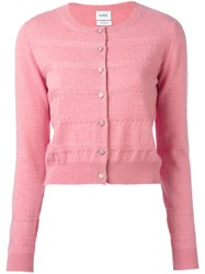 Barrie Classic Buttoned Cardigan Pink Purple
