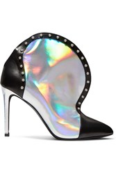 Balmain Iren Studded Smooth And Iridescent Leather Ankle Boots Silver