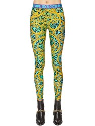 Versace Printed Tech Jersey Leggings Green
