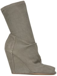 Rick Owens Open Toe Wedge Ankle Boots Leather Suede Rubber Green