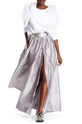 Tov Faux Leather Waist Front Zip Maxi Skirt Metallic