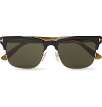 Tom Ford Louis D Frame Rose Gold Tone And Acetate Sunglasses Black