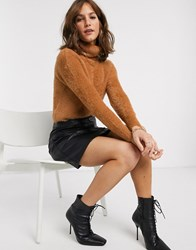 River Island Fluffy Cropped Sweater With Roll Neck In Camel Tan