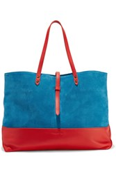 Tomas Maier Color Block Suede And Leather Tote Bag Light Blue