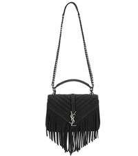 Saint Laurent Classic Monogram Fringed Suede Shoulder Bag Black