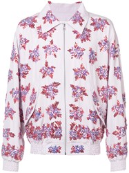 Faith Connexion Embroidered Bomber Jacket Men Silk Acrylic Glass S Pink Purple