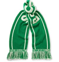 The Elder Statesman Nba Celtics Fringed Intarsia Cashmere Scarf Forest Green