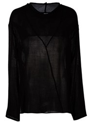 Damir Doma Creased Sheer Longsleeved Top Black