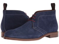 Massimo Matteo Suede Chukka Navy Suede Men's Shoes Blue