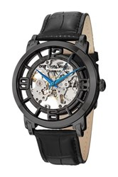 Stuhrling Men's Casatorra Alligator Embossed Genuine Leather Watch Black