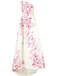 Monique Lhuillier Floral Print Ball Gown White