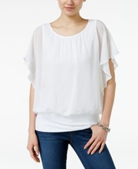 Jm Collection Flutter Sleeve Top Only At Macy's Bright White