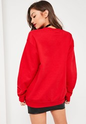 Missguided Red Naughty Nice Spliced Christmas Sweatshirt