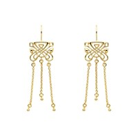 Biba Gold Emblem Triple Tassel Earrings