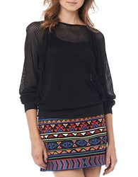 Sam Edelman Long Sleeve Mesh Tee Black