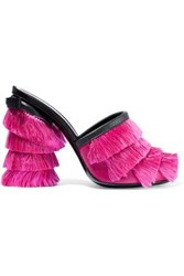 Marco De Vincenzo Leather Trimmed Fringed Satin Mules Fuchsia