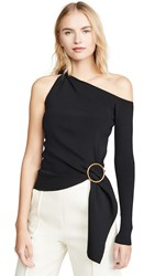 Edition10 One Sleeve Ring Detail Top Black