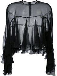Philosophy Di Lorenzo Serafini Semi Sheer Frill Blouse Black